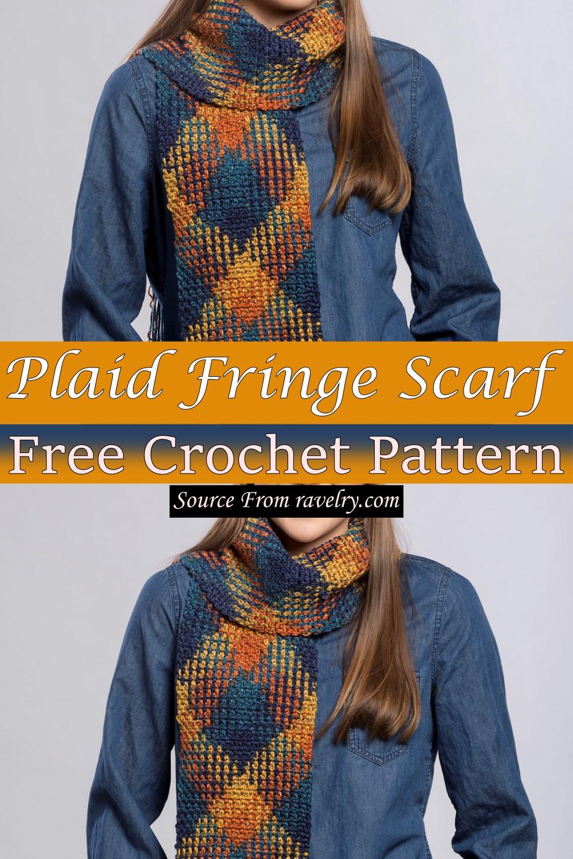 Free Crochet Plaid Fringe Scarf Pattern