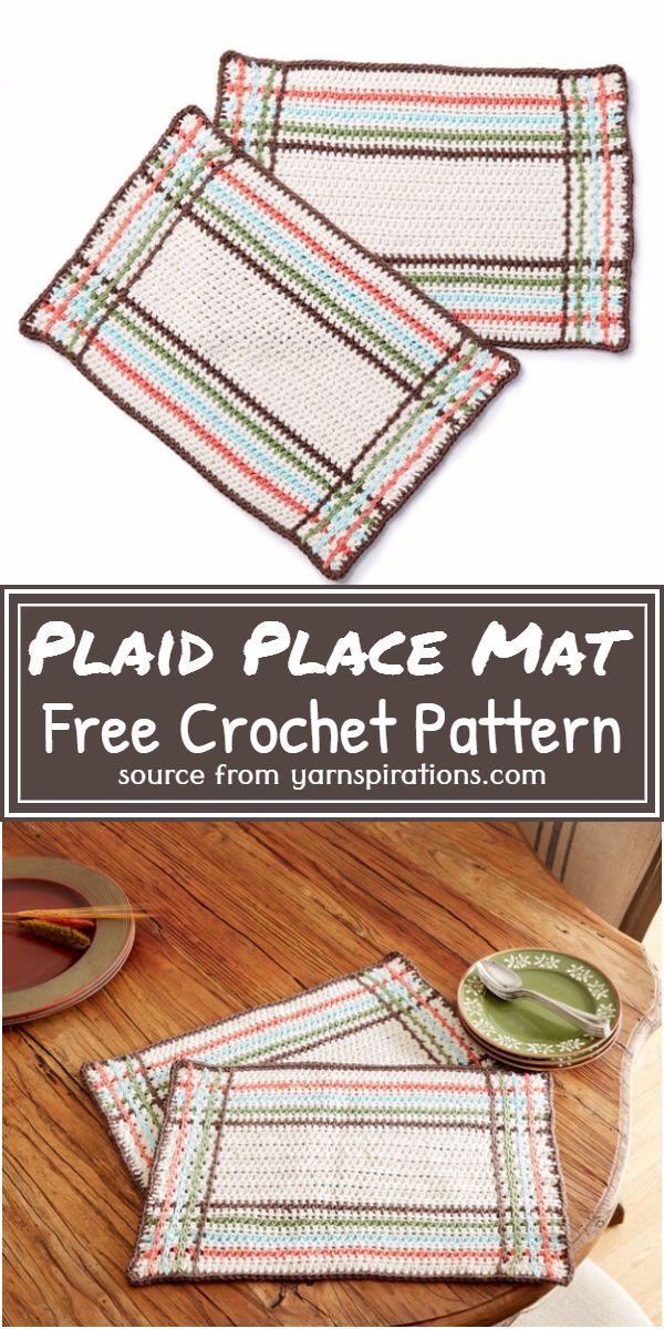 Free Crochet Plaid Place Mat Pattern