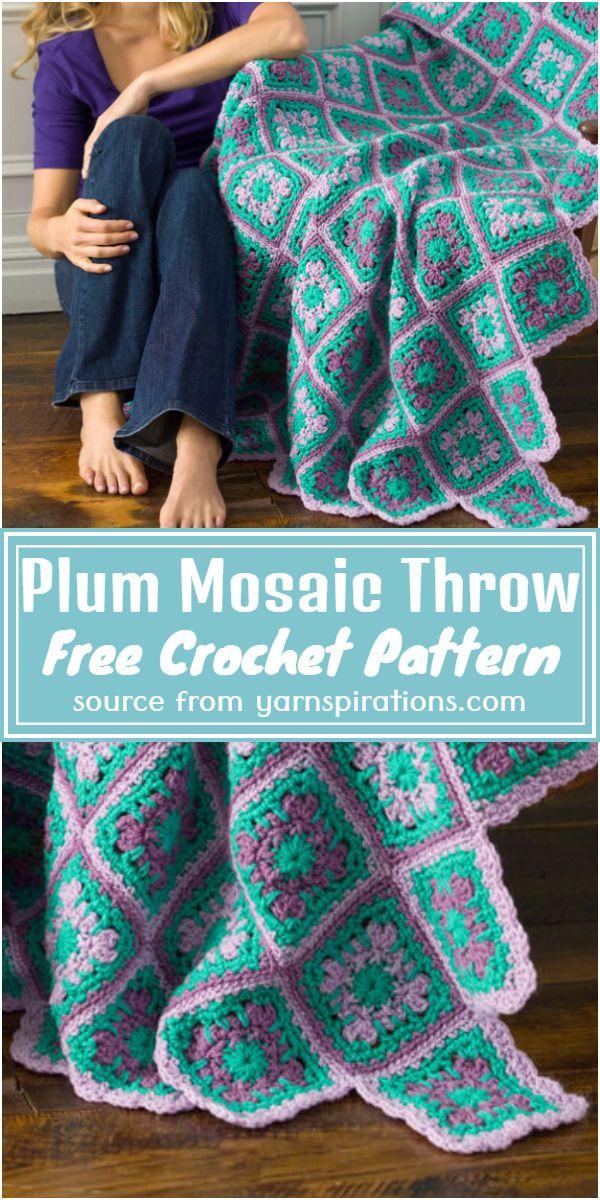 Free Crochet Plum Mosaic Throw Pattern