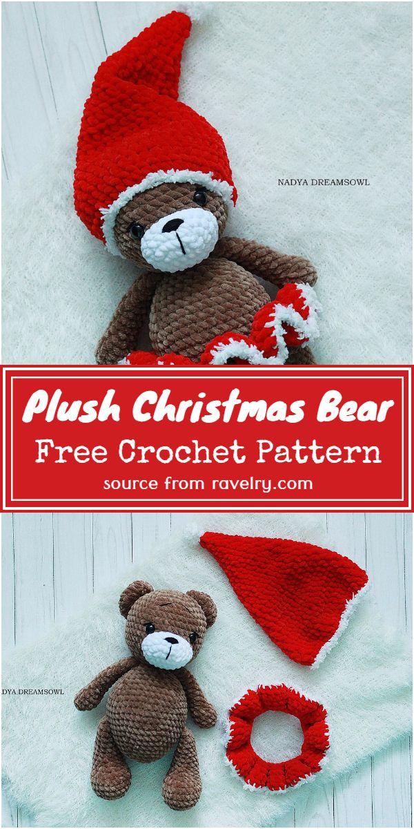 Free Crochet Plush Christmas Bear Pattern