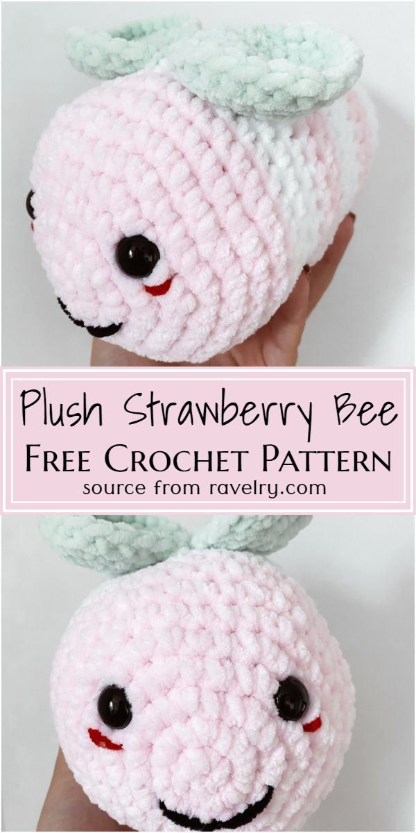 Free Crochet Plush Strawberry Bee Pattern