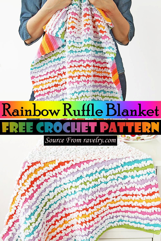 Free Crochet Rainbow Ruffle Blanket Pattern