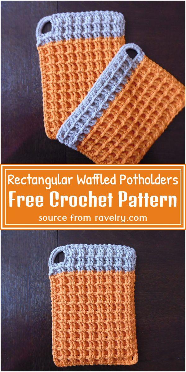 Free Crochet Rectangular Waffled Potholders Pattern