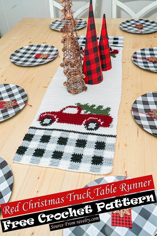 Free Crochet Red Christmas Truck Table Runner Pattern