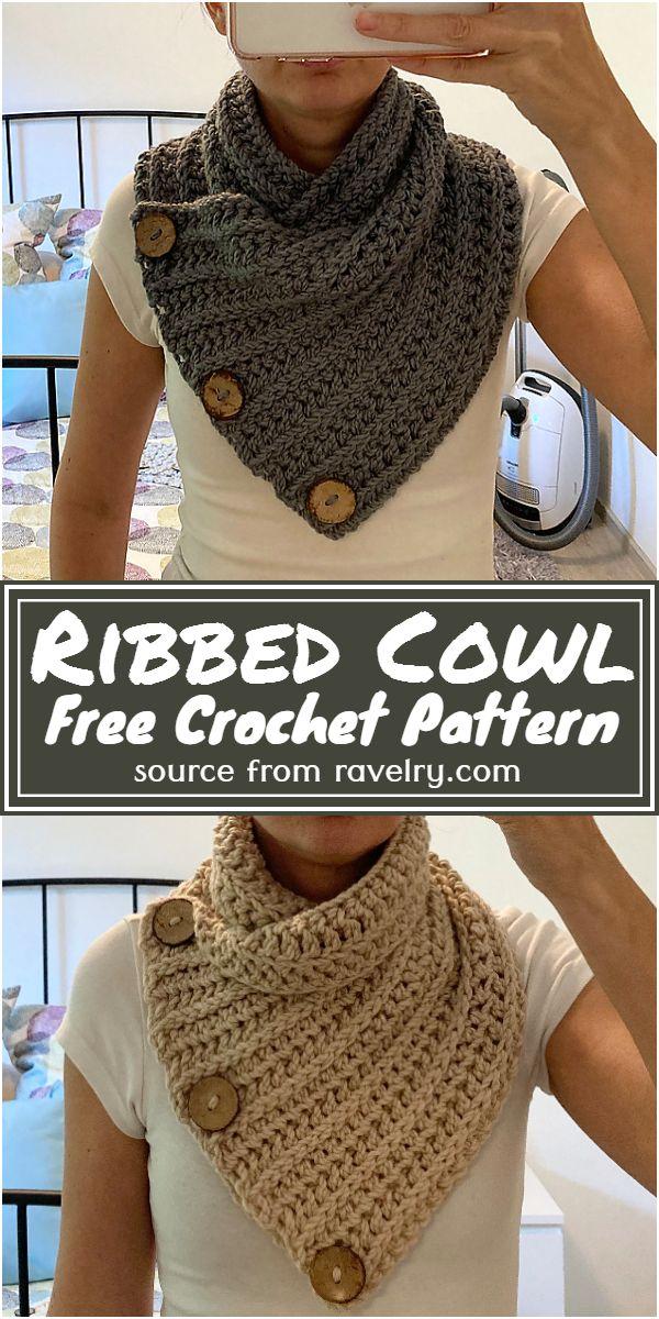 Free Crochet Ribbed Cowl Pattern