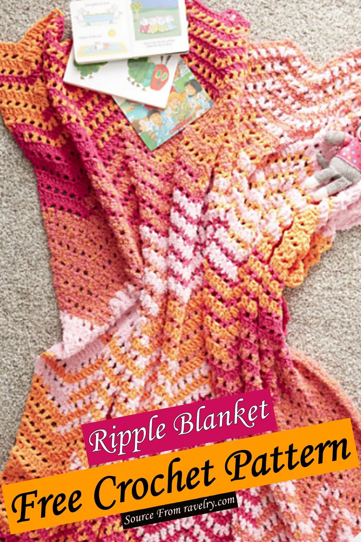 Free Crochet Ripple Blanket Pattern