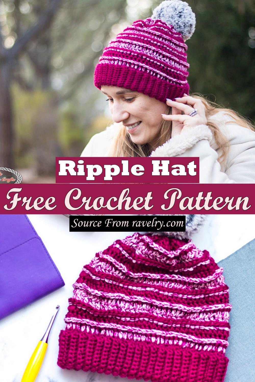 Free Crochet Ripple Hat Pattern