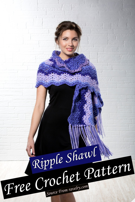Free Crochet Ripple Shawl Pattern