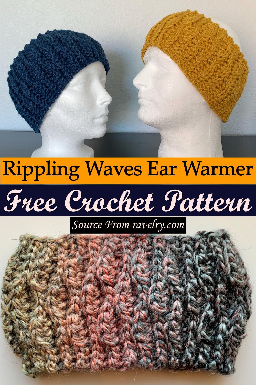 Free Crochet Rippling Waves Ear Warmer Pattern