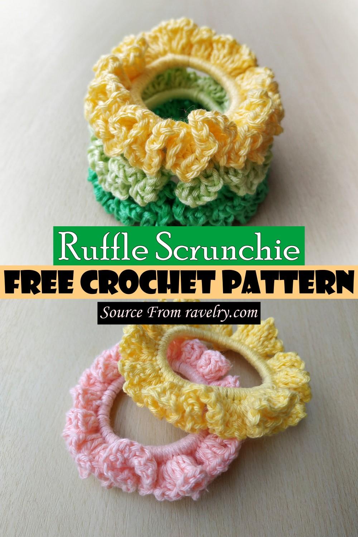 Free Crochet Ruffle Scrunchie Pattern
