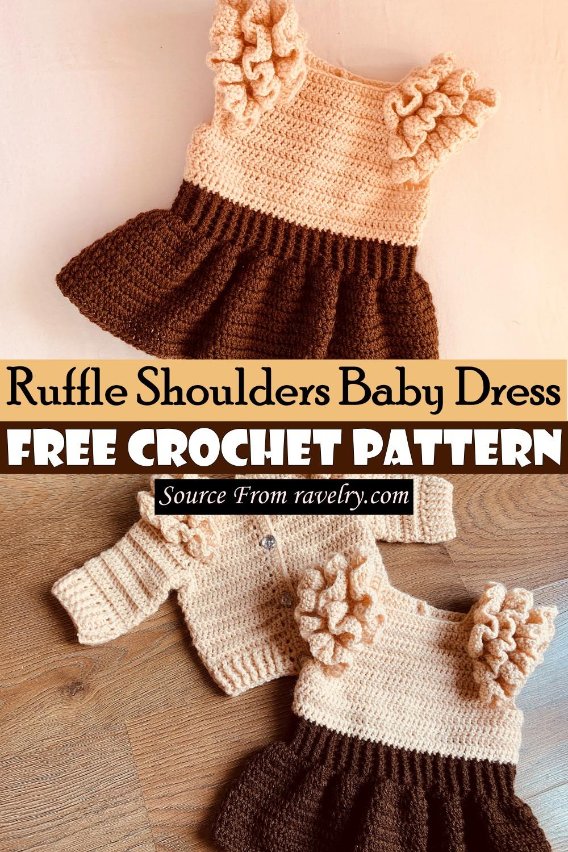Free Crochet Ruffle Shoulders Baby Dress Pattern