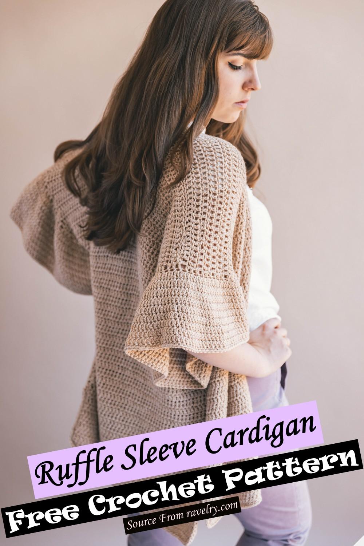 Free Crochet Ruffle Sleeve Cardigan Pattern