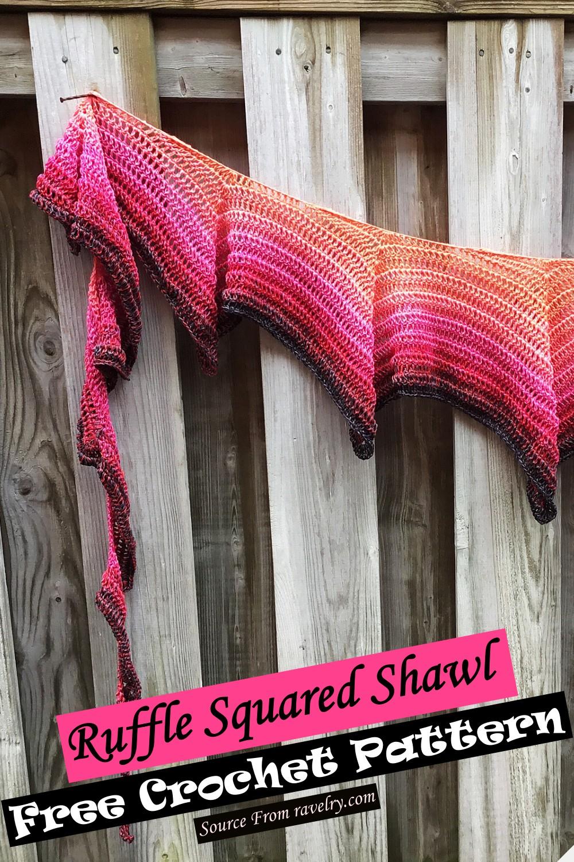 Free Crochet Ruffle Squared Shawl Pattern