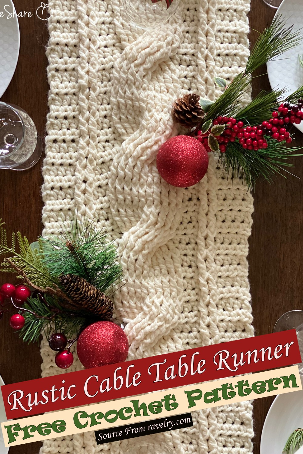 Free Crochet Rustic Cable Table Runner Pattern