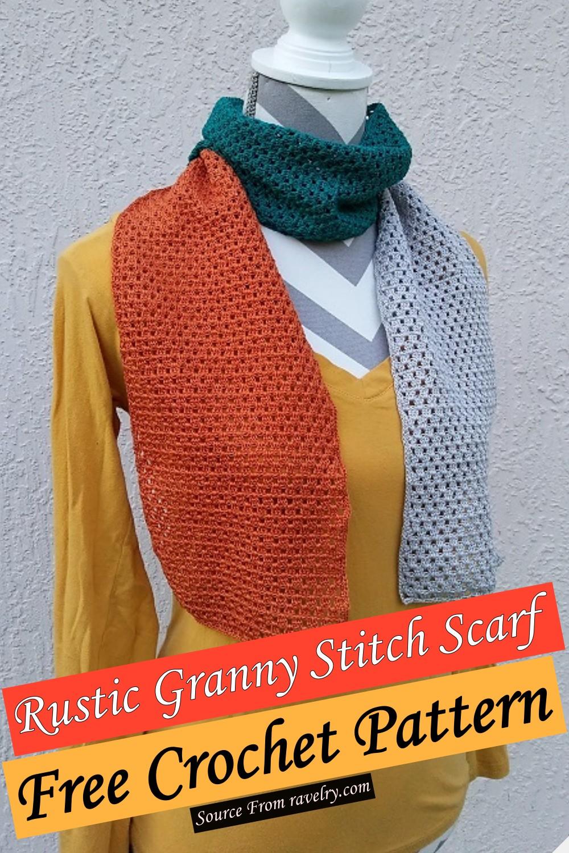 Free Crochet Rustic Granny Stitch Scarf Pattern