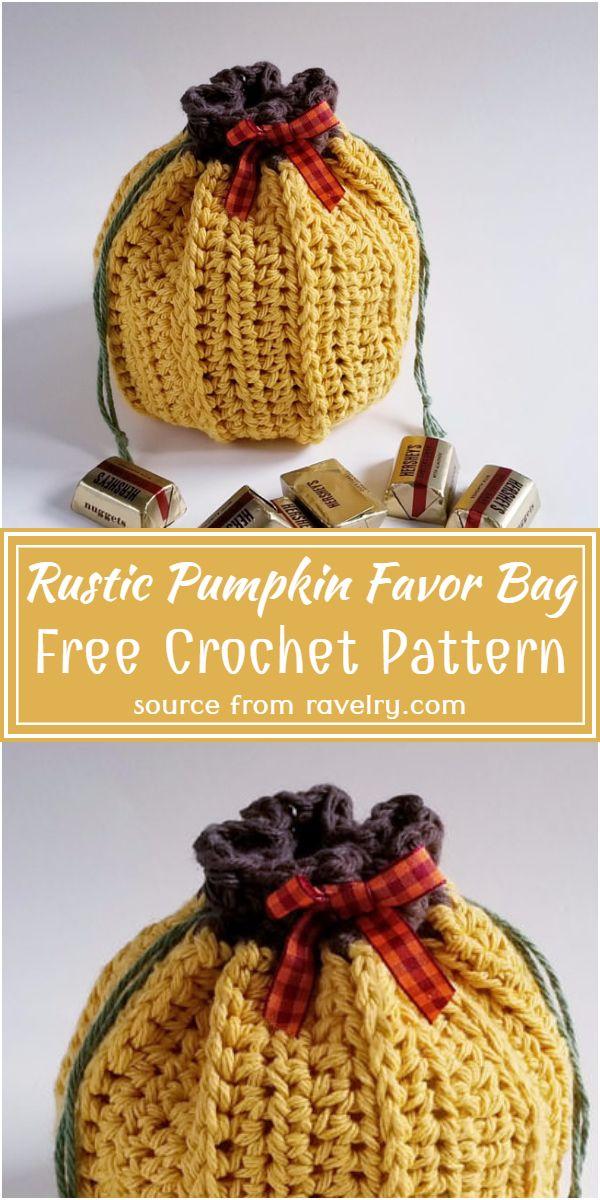 Free Crochet Rustic Pumpkin Favor Bag Pattern