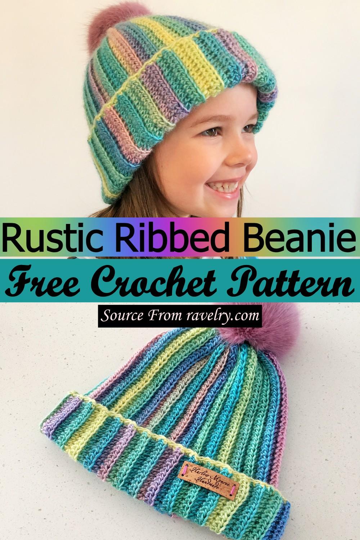 Free Crochet Rustic Ribbed Beanie Pattern
