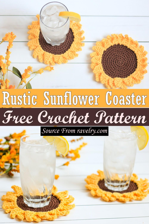 Free Crochet Rustic Sunflower Coaster Pattern