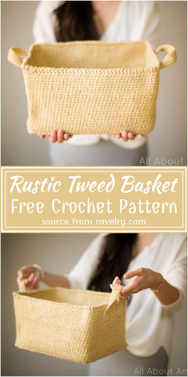 Free Crochet Rustic Tweed Basket Pattern