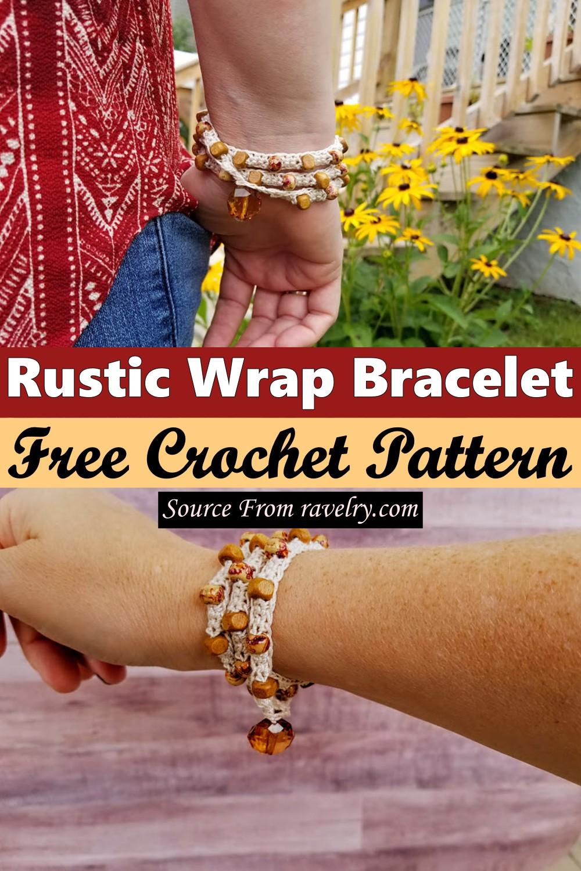 Free Crochet Rustic Wrap Bracelet Pattern