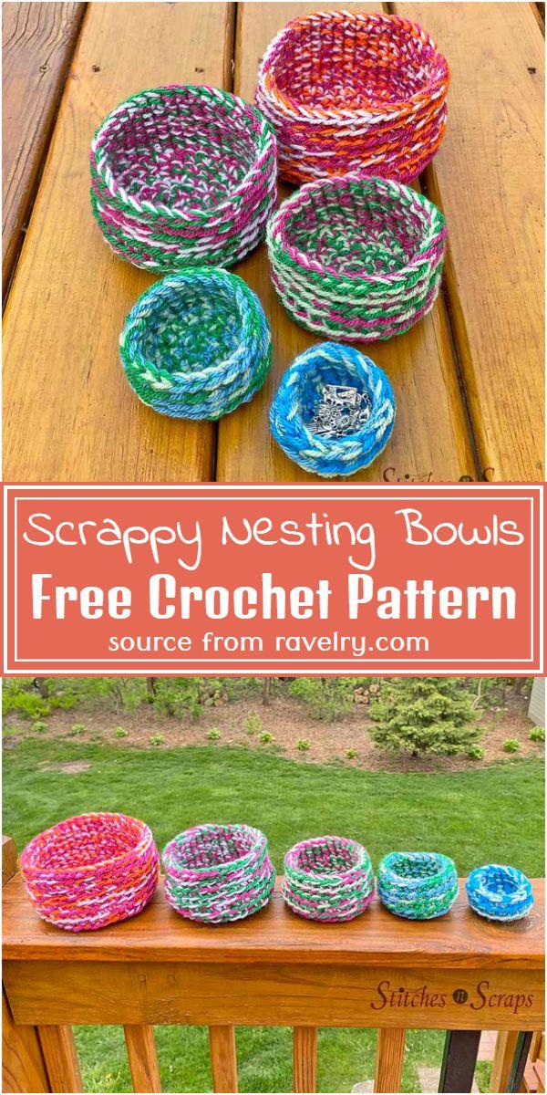 Free Crochet Scrappy Nesting Bowls Pattern