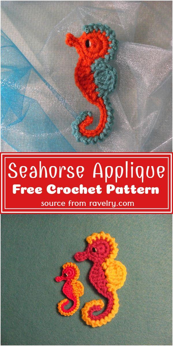 Free Crochet Seahorse Applique Pattern