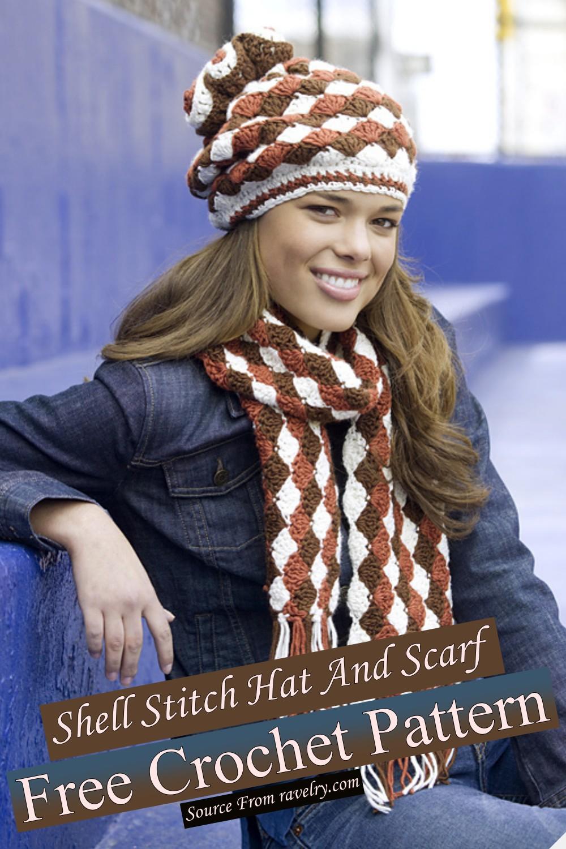 Free Crochet Shell Stitch Hat And Scarf Pattern