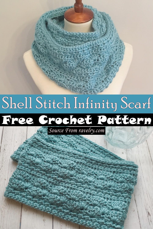 Free Crochet Shell Stitch Infinity Scarf Pattern