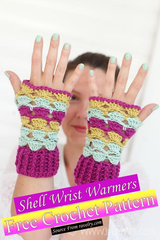 Free Crochet Shell Wrist Warmers Pattern