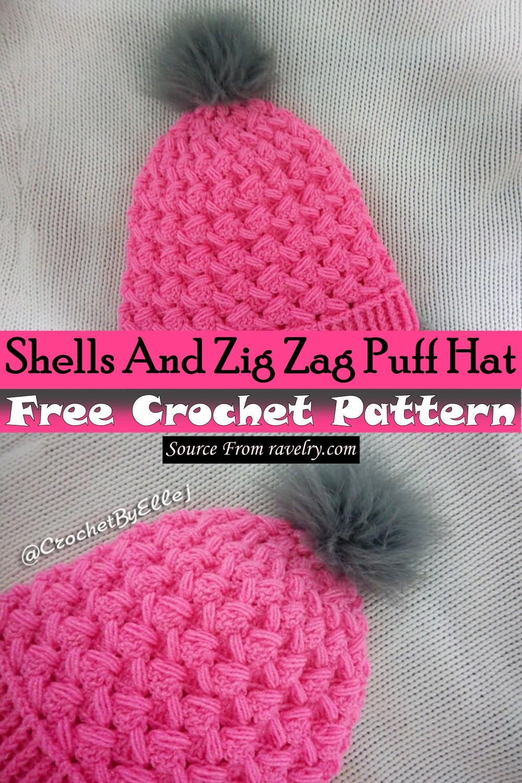 Free Crochet Shells And Zig Zag Puff Hat Pattern