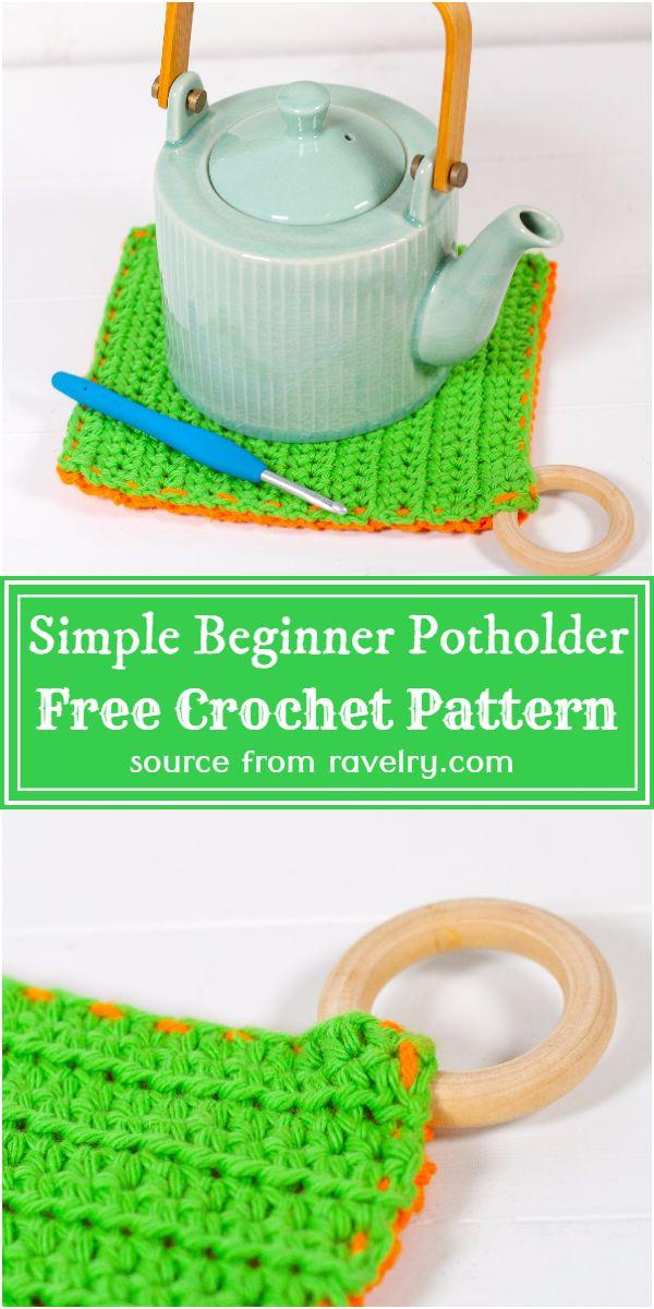 Free Crochet Simple Beginner Potholder Pattern