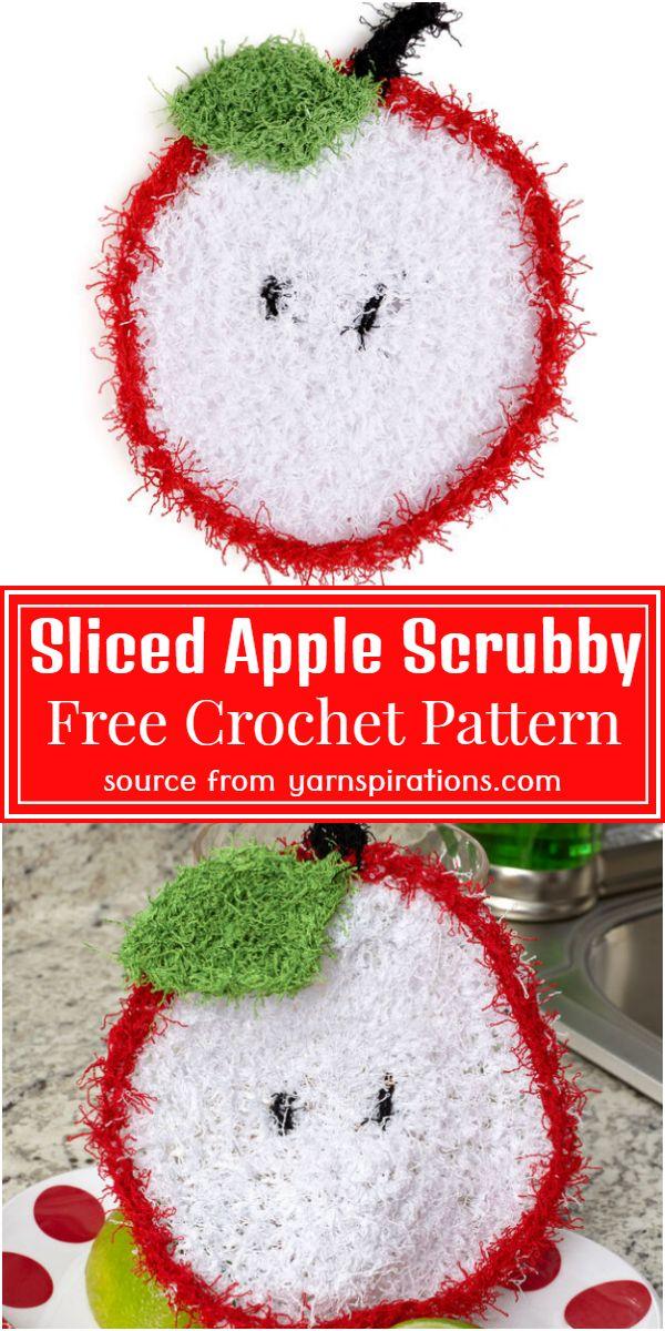 Free Crochet Sliced Apple Scrubby Pattern