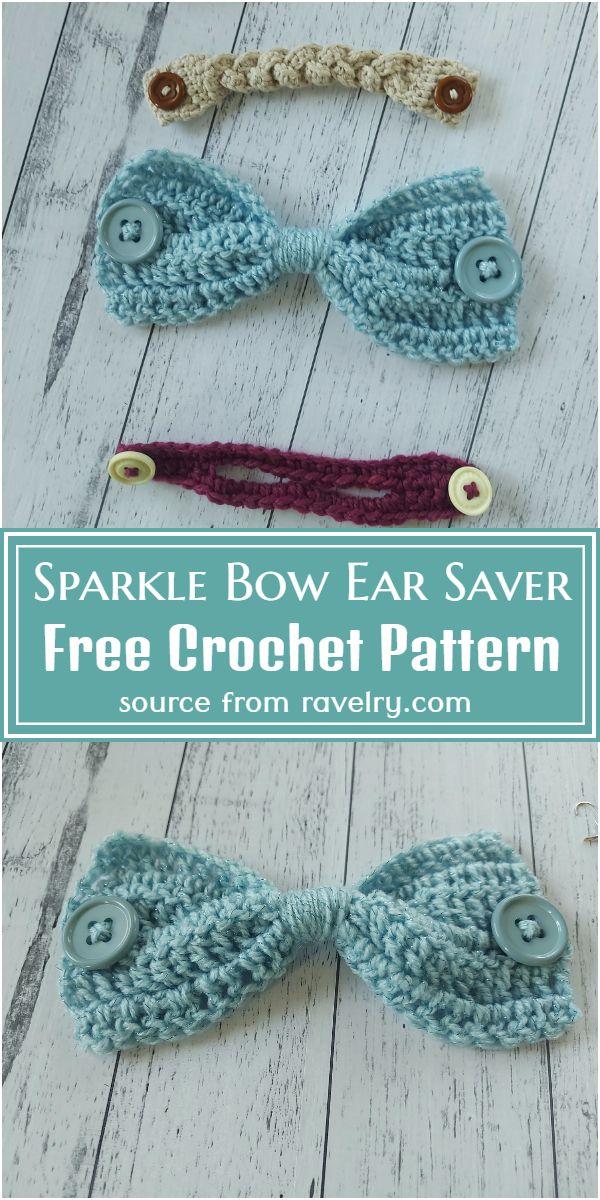 Free Crochet Sparkle Bow Ear Saver Pattern