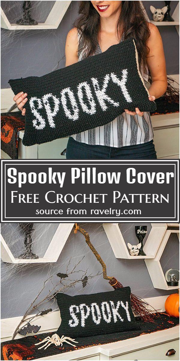 Free Crochet Spooky Pillow Cover Pattern