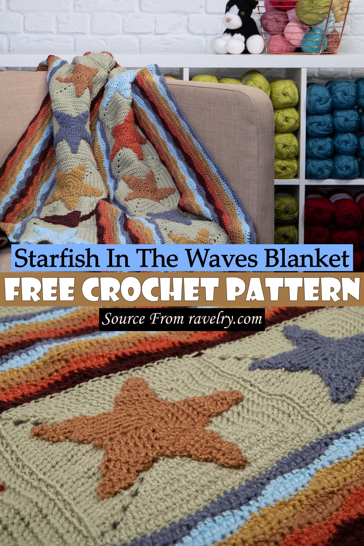 Free Crochet Starfish In The Waves Blanket Pattern