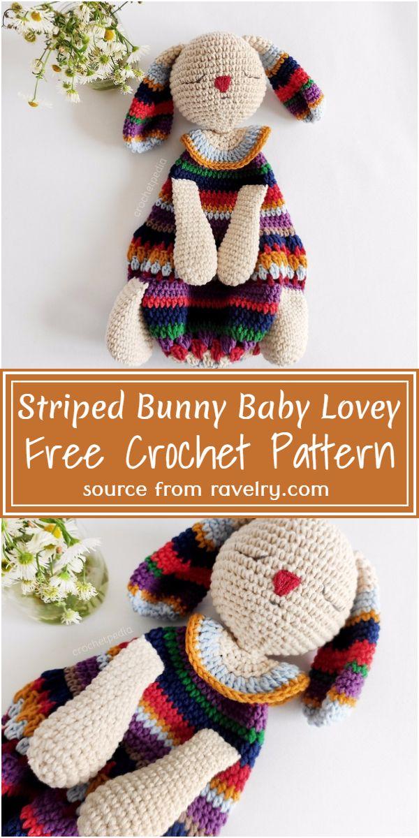 Free Crochet Striped Bunny Baby Lovey Pattern