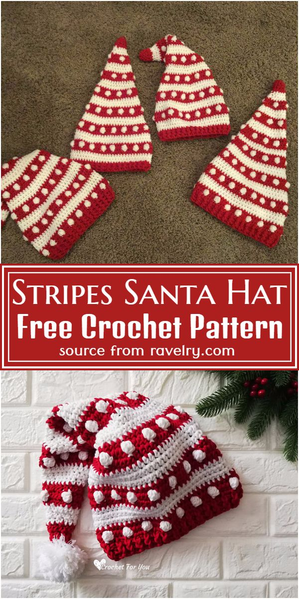 Free Crochet Stripes Santa Hat Pattern