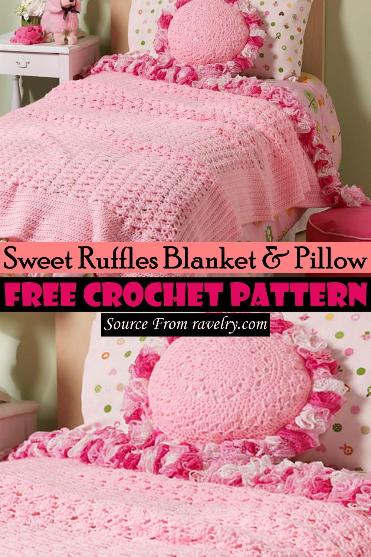 Free Crochet Sweet Ruffles Blanket & Pillow Pattern