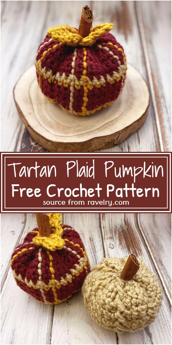 Free Crochet Tartan Plaid Pumpkin Pattern