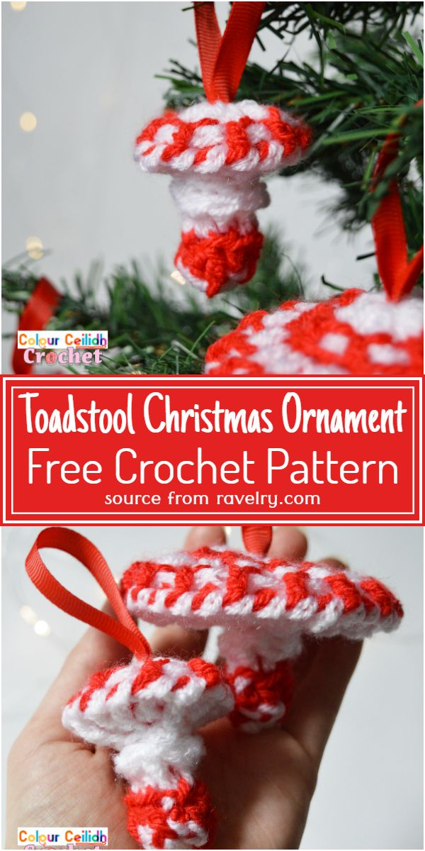 Free Crochet Toadstool Christmas Ornament Pattern