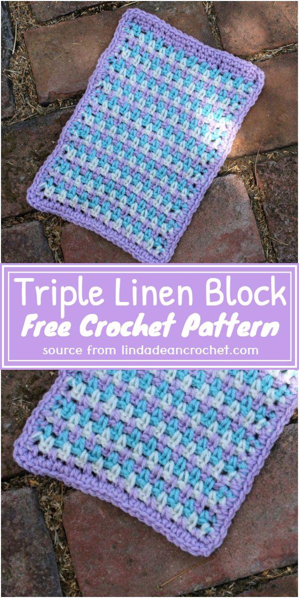 Free Crochet Triple Linen Block Pattern