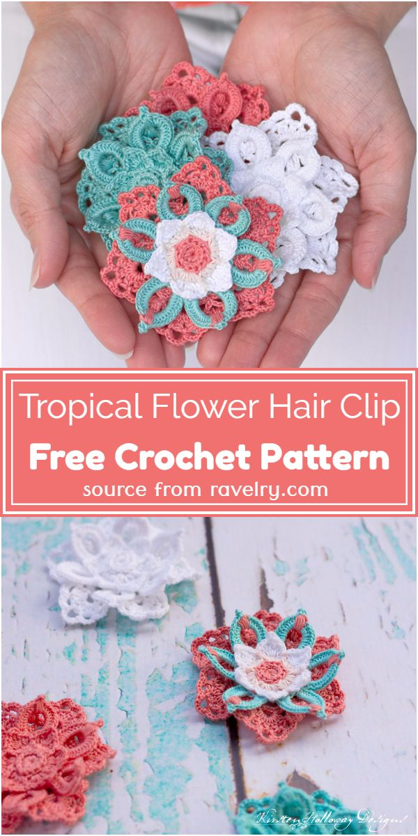 Free Crochet Tropical Flower Hair Clip Pattern