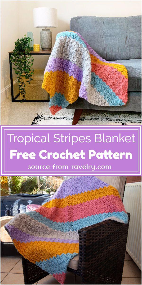 Free Crochet Tropical Stripes Blanket Pattern