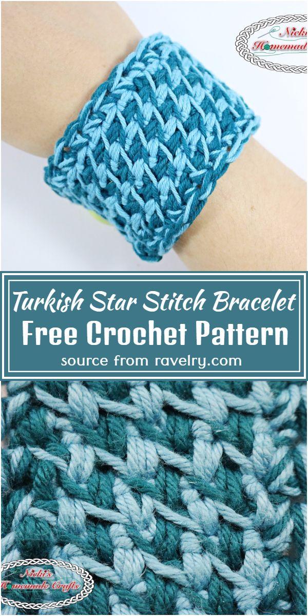 Free Crochet Turkish Star Stitch Bracelet Pattern