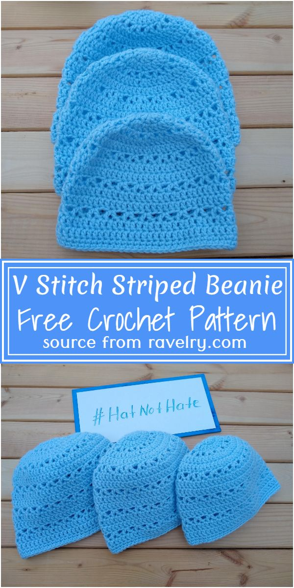 Free Crochet V Stitch Striped Beanie Pattern