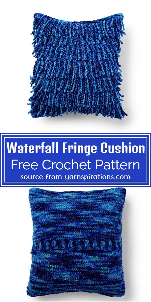 Free Crochet Waterfall Fringe Cushion Pattern