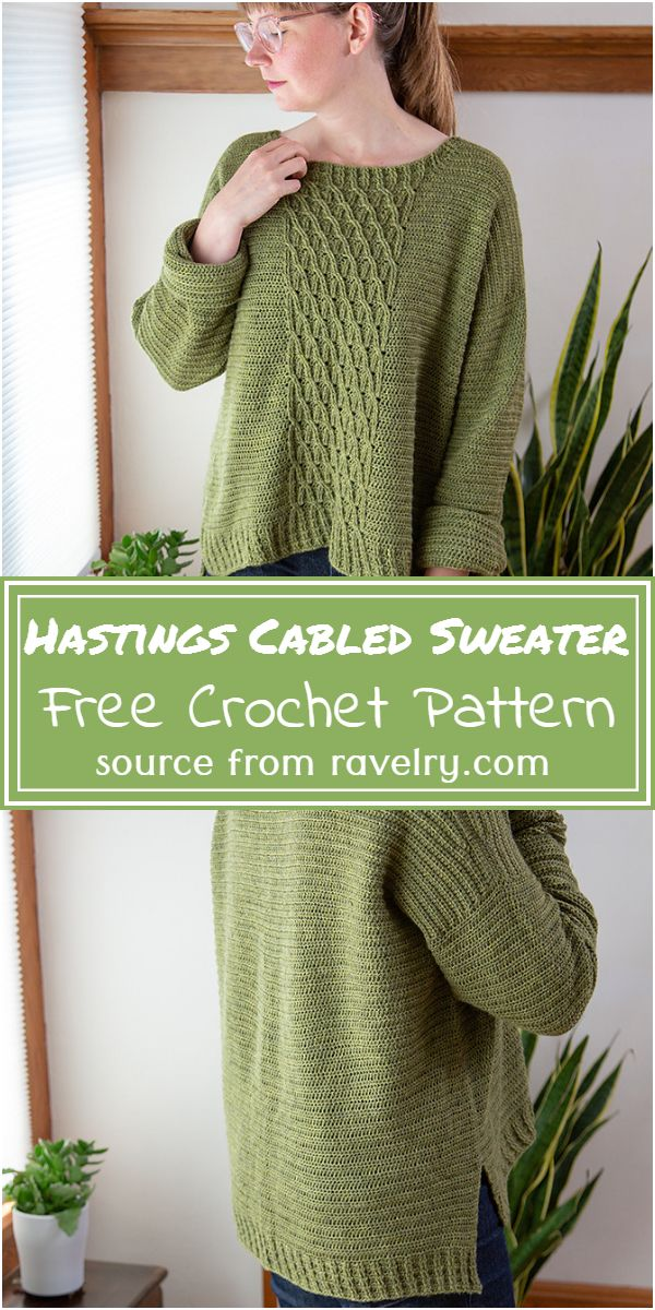 Hastings Cabled Sweater Crochet Pattern