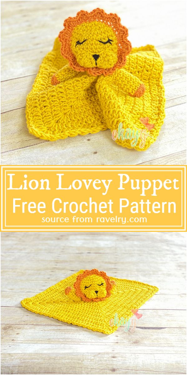 Lion Lovey Puppet Crochet Pattern