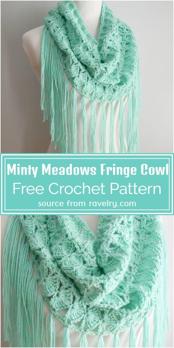 Minty Meadows Fringe Cowl Crochet Pattern