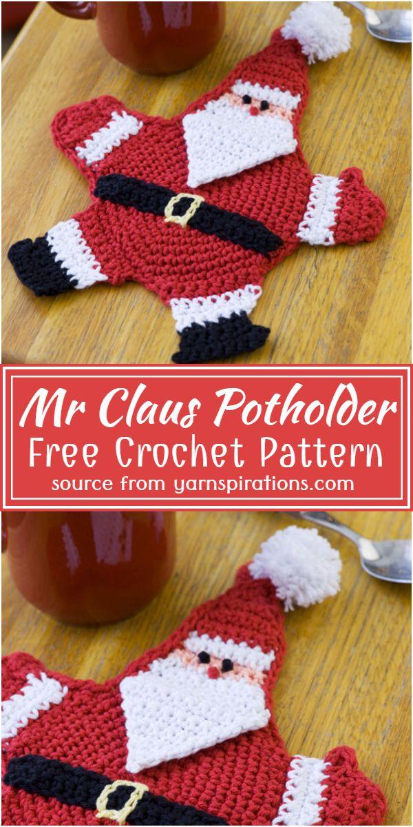Mr Claus Potholder Crochet Pattern